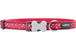 Flying Bones Red - Dog Collar and Lead