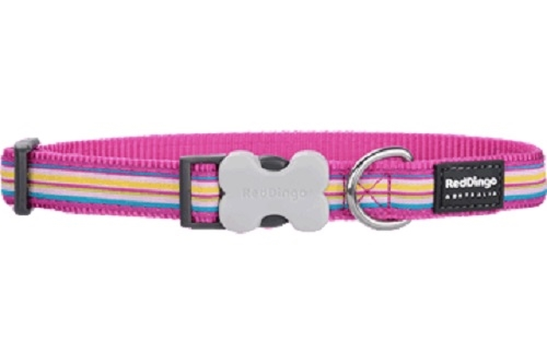 Horizontal Stripes Hot Pink - Dog Collar and Lead