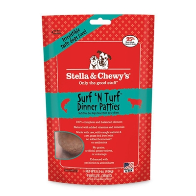 Stella & Chewys-Freeze-Dried Surf 'N Turf Dinners for Dogs - 5.5oz