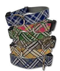 Graphic Plaid Collection Ribbon Dog Collars & Leashes by Poochie-Pets