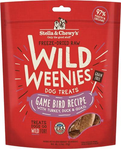 Stella & Chewys Dog Freeze Dried WEENIE Game Bird 3.25 oz.