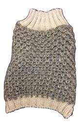 Crochet Knit Sweater Grey Metallic