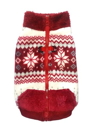 Soft Snowflake Fleece Vest - Burgundy