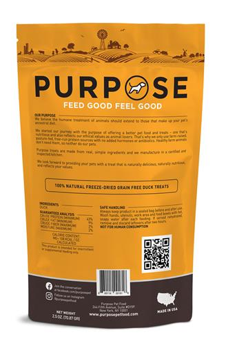 Purpose Freeze-Dried Duck Bites Treats For Dogs & Cats, 2.5oz. bags