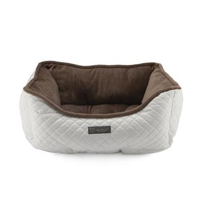 NANDOG PRIVE COLLECTION QUILTED FAUX LEATHER WHITE & BROWN CUDDLER BED