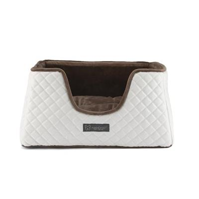 NANDOG PRIVE COLLECTION QUILTED FAUX LEATHER WHITE & BROWN CUBE BED