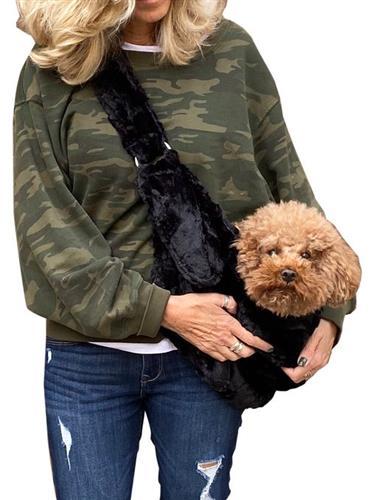 Adjustable Furbaby Sling bag, Black Bella