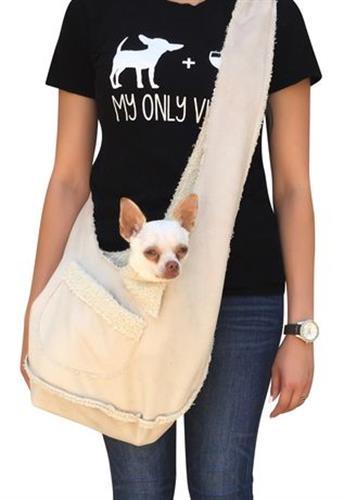 Boho fur/microsuede bonded sling bag in sand