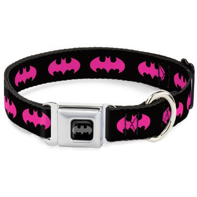 Batman Signal Black/Fuchsia Collars & Leads by Buckle-Down