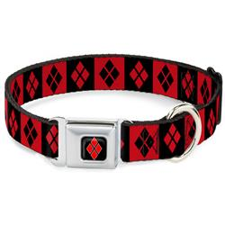 Harley Quinn Diamond Blocks Red/Black Black/Red Collars & Leads by Buckle-Down