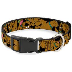Scooby Doo Stacked CLOSE-UP Black Collars & Leads by Buckle-Down