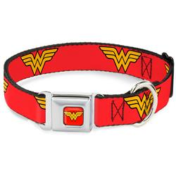 Wonder Woman Logo Red Collars & Leads by Buckle-Down