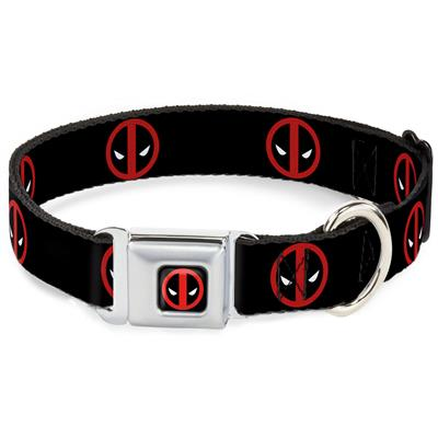 Deadpool Logo Black/Red/White Collars & Leads by Buckle-Down