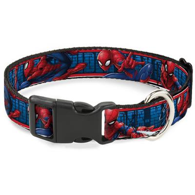 SPIDER-MAN 3-Action Poses/Bricks/Stripe Blues/Red/White Collars & Leads by Buckle-Down