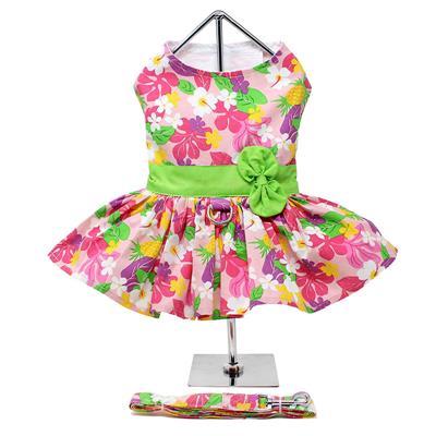 Pink Hawaiian Floral Dress w/ Leash & D-Ring
