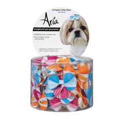 Aria Grosgrain Stripe Dog Bows - Canister of 100