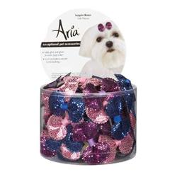 Aria Sequin Dog Bows - Canister of 100