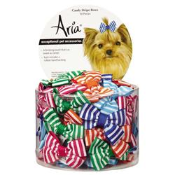 Aria Candy Stripe Bows - Canister of 50