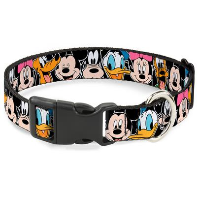 Classic Disney Character Faces Black Collars & Leads by Buckle-Down