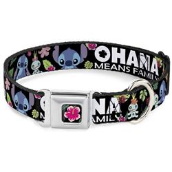 OHANA MEANS FAMILY/Stitch & Scrump Poses/Tropical Flora Black/White/Multi Color Collars & Leads by Buckle-Down