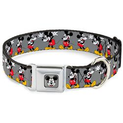 Mickey Mouse w/Glasses Poses Gray Collars & Leads by Buckle-Down