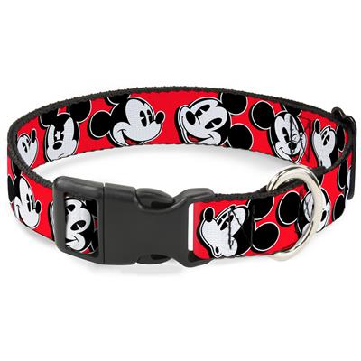 Mickey Mouse Expressions Red/Black/White Collars & Leads by Buckle-Down