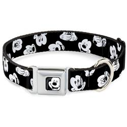 Mickey Mouse Expressions Scattered Black/White Collars & Leads by Buckle-Down
