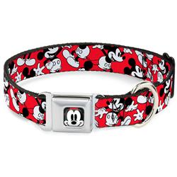 Mickey Mouse Poses Scattered Red/Black/White Collars & Leads by Buckle-Down