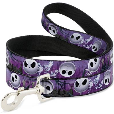 Jack Expressions/Ghosts in Cemetery Purples/Grays/White Collars & Leads by Buckle-Down