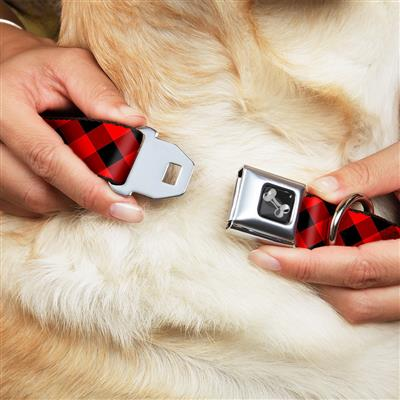 Diagonal Buffalo Plaid Black/Red Collars & Leads by Buckle-Down