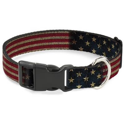 Vintage US Flag Stretch Collars & Leads by Buckle-Down