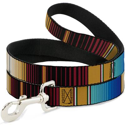 Zarape6 Vertical Stripe Gold/Blues/Black/Red Collars & Leads by Buckle-Down