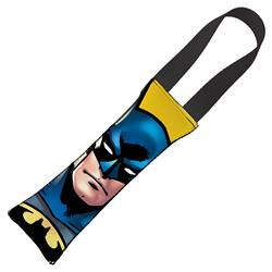 Batman JL Rebirth Face + Bat Icon CLOSE-UP Yellow/Black Pet Tug Toy by Buckle-Down