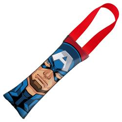 Captain American Face + Shield Icon CLOSE-UP Red/Red Pet Tug Toy by Buckle-Down