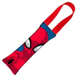 Spider-Man Pose + Round Spider Icon CLOSE-UP Blue/Red Pet Tug Toy by Buckle-Down
