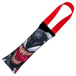Venom Face CLOSE-UP + Spider Icon Black/White Pet Tug Toy by Buckle-Down