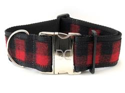 Buffalo Plaid Sierra Red Extra Wide Dog Collar