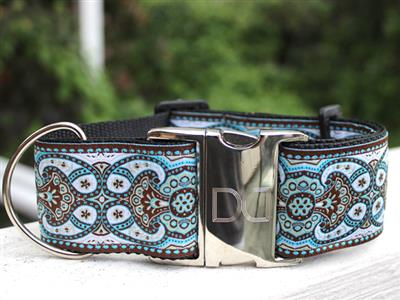 Kashmir Corfu Sky Extra Wide Dog Collar