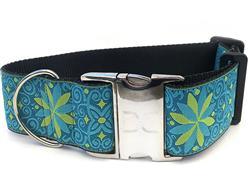 Pinwheel Caribbean Blue Extra Wide Dog Collar & Kiwi Green Velvet Leash
