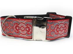 Kashmir Empress Red Extra Wide Dog Collar
