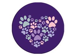 Heart With Paws-Round Button Magnet