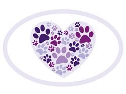 Heart with Paws - Oval Magnet -
