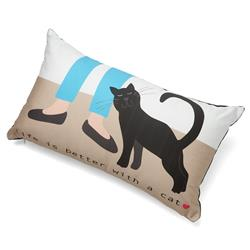 "Life is Better With a Cat Accent Pillow (12"" x 20"")"