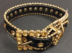 Bling Dog Collar - BLACK W/GOLD STONES