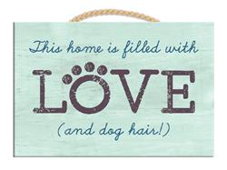 "9"" x 6"" Wood Sign w/ Rope - This Home is filled with Love..."