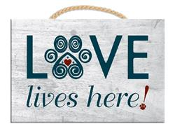 """9"""" x 6"""" Wood Sign w/ Rope - Love Lives Here"""
