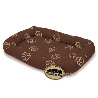 Slumber Pet™ Embroidered Pawprint Crate Beds - Brown