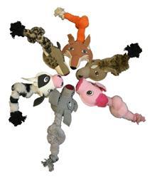 Dogline Safari Animal Ball & Rope Toys