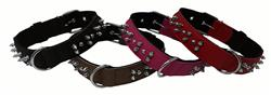 Dogline Leather + Nylon Spike Collar
