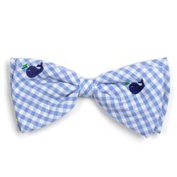 Gingham Whales Bow Tie